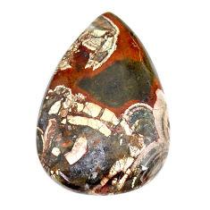 Natural 34.20cts mushroom rhyolite brown 36.5x24 mm pear loose gemstone s21908