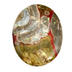 Natural 43.45cts mushroom rhyolite brown 37.5x27.5 mm oval loose gemstone s21915