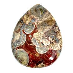 Natural 47.35cts mushroom rhyolite brown 38x27.5 mm pear loose gemstone s21910