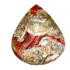 Natural 39.45cts mushroom rhyolite brown 39x31 mm pear loose gemstone s21905