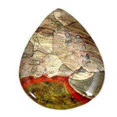 Natural 47.35cts mushroom rhyolite brown 41x31 mm pear loose gemstone s21906