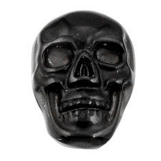 Natural 6.30cts onyx black carving 17.5x12 mm fancy skull loose gemstone s18041