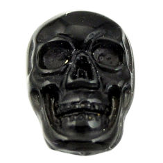 Natural 7.40cts onyx black carving 17.5x12 mm fancy skull loose gemstone s18042