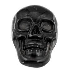 Natural 6.45cts onyx black carving 17.5x12 mm fancy skull loose gemstone s18043