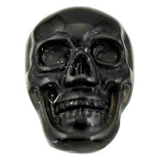 Natural 6.30cts onyx black carving 17.5x12 mm fancy skull loose gemstone s18045