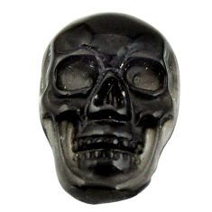 Natural 5.30cts onyx black carving 17.5x12 mm fancy skull loose gemstone s18046