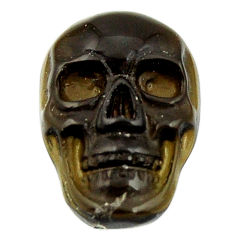 Natural 7.40cts onyx black carving 17.5x12 mm fancy skull loose gemstone s18047