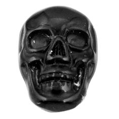 Natural 7.45cts onyx black carving 17.5x12 mm fancy skull loose gemstone s18048
