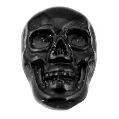 Natural 7.45cts onyx black carving 17.5x12 mm fancy skull loose gemstone s18049
