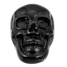 Natural 7.10cts onyx black carving 17.5x12 mm fancy skull loose gemstone s18050