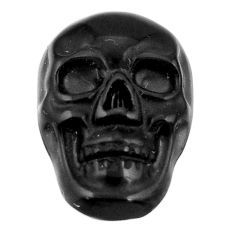 Natural 6.45cts onyx black carving 17.5x12 mm fancy skull loose gemstone s18051