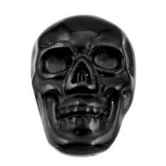 Natural 6.30cts onyx black carving 17.5x12 mm fancy skull loose gemstone s18052