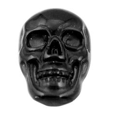 Natural 6.30cts onyx black carving 17.5x12 mm fancy skull loose gemstone s18053