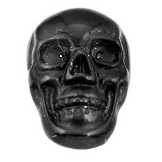 Natural 7.15cts onyx black carving 17.5x12 mm fancy skull loose gemstone s18055