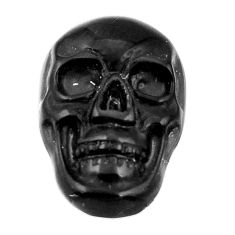 Natural 6.30cts onyx black carving 17.5x12 mm fancy skull loose gemstone s18056