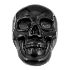 Natural 6.30cts onyx black carving 17.5x12 mm fancy skull loose gemstone s18057