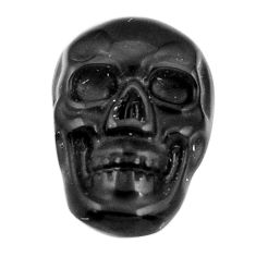 Natural 5.30cts onyx black carving 17.5x12 mm fancy skull loose gemstone s18058