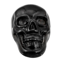 Natural 6.30cts onyx black carving 17.5x12 mm fancy skull loose gemstone s18059