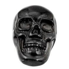 Natural 6.30cts onyx black carving 17.5x12 mm fancy skull loose gemstone s18060