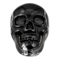Natural 6.20cts onyx black carving 18x12 mm fancy skull loose gemstone s18044