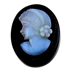 Natural 9.45cts opal cameo on black onyx 20x15mm lady face loose gemstone s18986