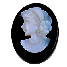 Natural 9.45cts opal cameo on black onyx 20x15mm lady face loose gemstone s18988