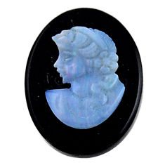 Natural 7.45cts opal cameo on black onyx 20x15mm lady face loose gemstone s18989