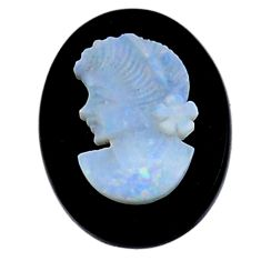 Natural 8.25cts opal cameo on black onyx 20x15mm lady face loose gemstone s18991
