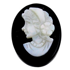 Natural 9.10cts opal cameo on black onyx 20x15mm lady face loose gemstone s18996