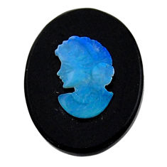 Natural 6.35cts opal cameo on black onyx 20x15mm lady face loose gemstone s18998