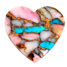 Natural 25.15cts opal in turquoise pink heart 28x27 mm loose gemstone s21580