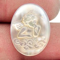 Natural 5.15cts pearl blister carving 20x15 mm oval angel loose gemstone s18301