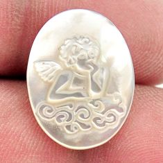 Natural 5.30cts pearl blister carving 20x15 mm oval angel loose gemstone s18302