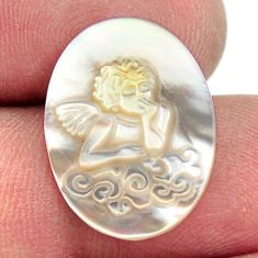 Natural 4.20cts pearl blister carving 20x15 mm oval angel loose gemstone s18304