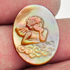 Natural 6.35cts pearl blister carving 20x15 mm oval angel loose gemstone s18306