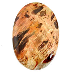 Natural 60.10cts petrified wood fossil brown 44x30 mm oval loose gemstone s20818