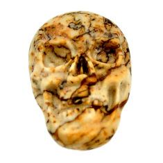 Natural 6.30cts picture jasper brown 17.5x12 mm skull loose gemstone s18208