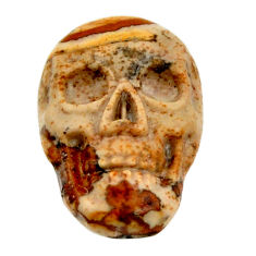 Natural 7.40cts picture jasper brown 17.5x12 mm skull loose gemstone s18220