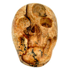 Natural 13.45cts picture jasper brown 22.5x15 mm skull loose gemstone s18102