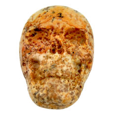 Natural 13.45cts picture jasper brown 22x15 mm fancy skull loose gemstone s18101