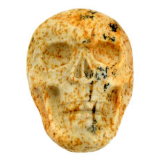 Natural 12.35cts picture jasper brown 22x15 mm fancy skull loose gemstone s18111