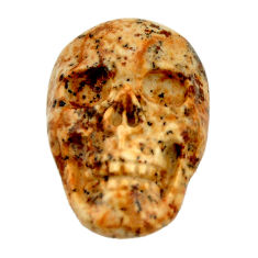 Natural 13.45cts picture jasper brown 22x15 mm fancy skull loose gemstone s18115