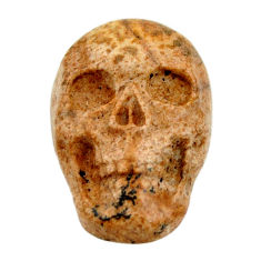 Natural 13.45cts picture jasper brown 22x15 mm fancy skull loose gemstone s18120