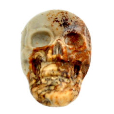 Natural 8.45cts picture jasper brown carving 18x12mm skull loose gemstone s18203