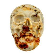Natural 7.35cts picture jasper brown carving 18x12mm skull loose gemstone s18212
