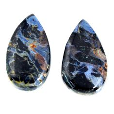 Natural 11.30cts pietersite (african) black 19x11 mm pair loose gemstone s19549