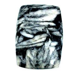 Natural 29.35cts pinolith black cabochon 30x20 mm octagan loose gemstone s22319