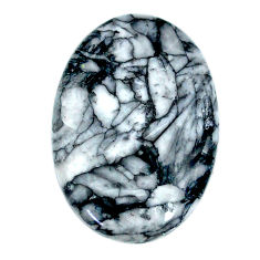 Natural 27.40cts pinolith black cabochon 30x20 mm oval loose gemstone s22315