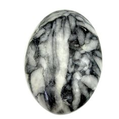 Natural 18.25cts pinolith white cabochon 19x15 mm oval loose gemstone s16953