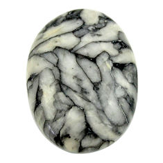 Natural 11.30cts pinolith white cabochon 21x15 mm oval loose gemstone s16951